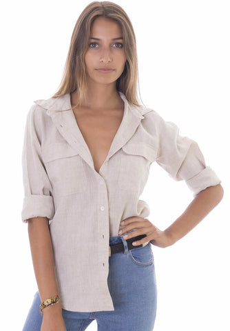 Lete Army Green, Relaxed Linen Shirt with Pockets