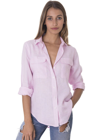 Lete Black, Relaxed Linen Shirt with Pockets