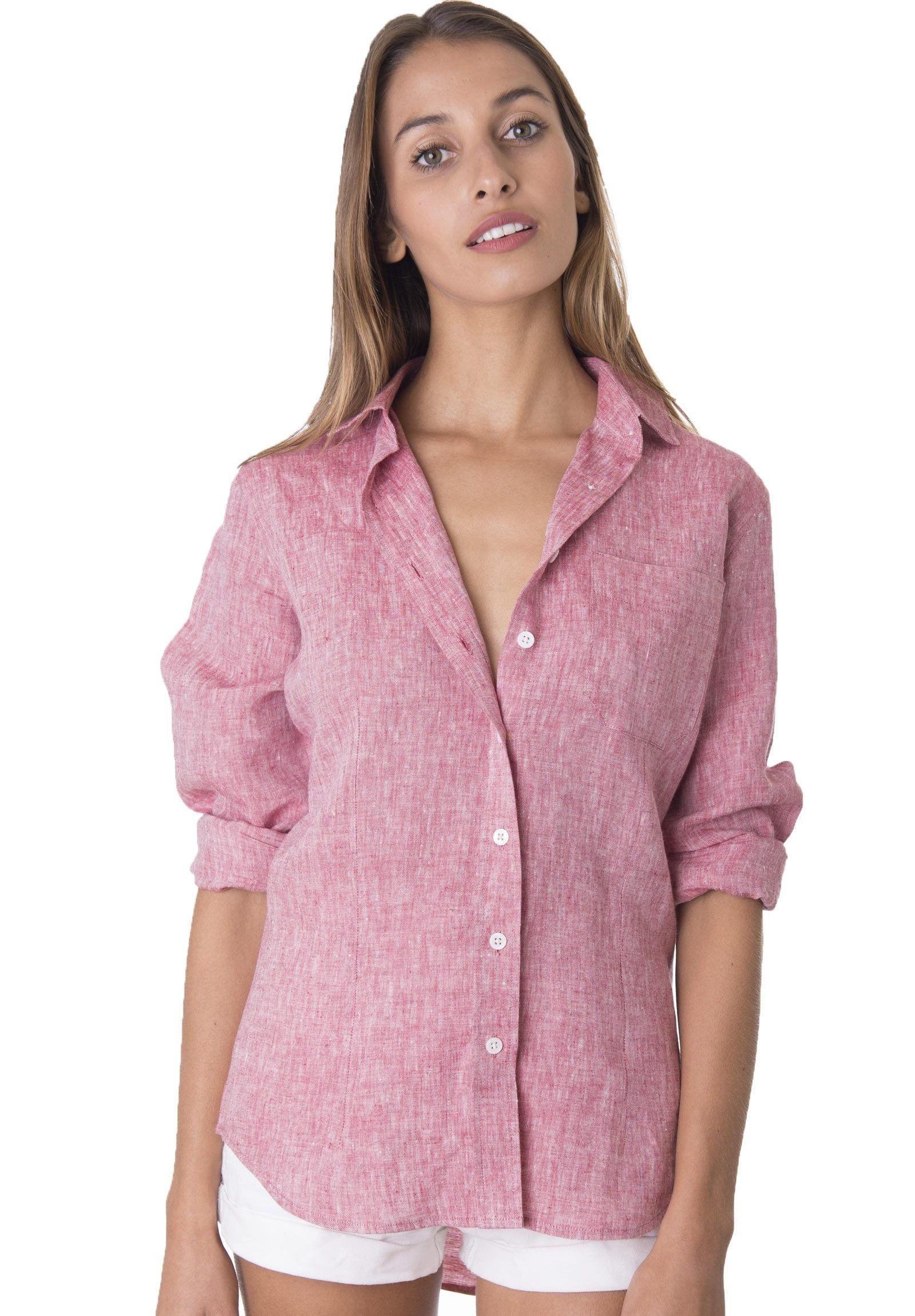 Lina Red Melange, Crushed Linen Shirt