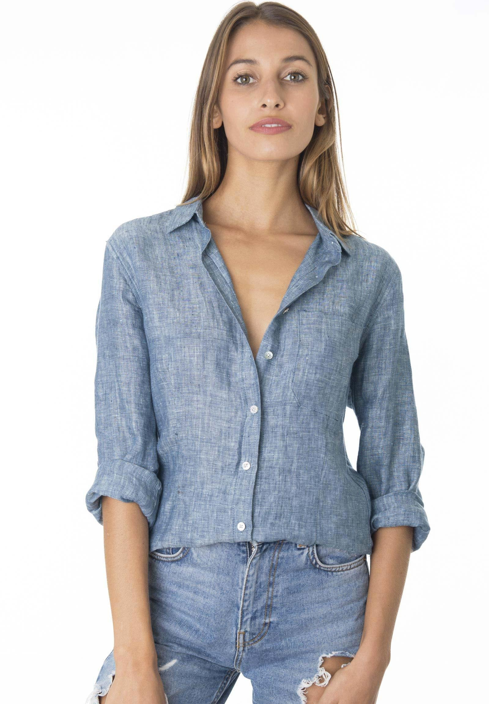 Lina Blue Melange, Crushed Linen Shirt