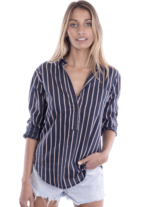 Pippa Night Blue Pop-Over Cotton Striped Shirt