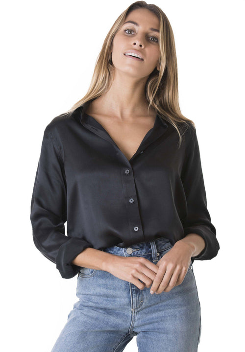 Satin Black, Pure Charmeuse Silk, Boyfriend Shirt