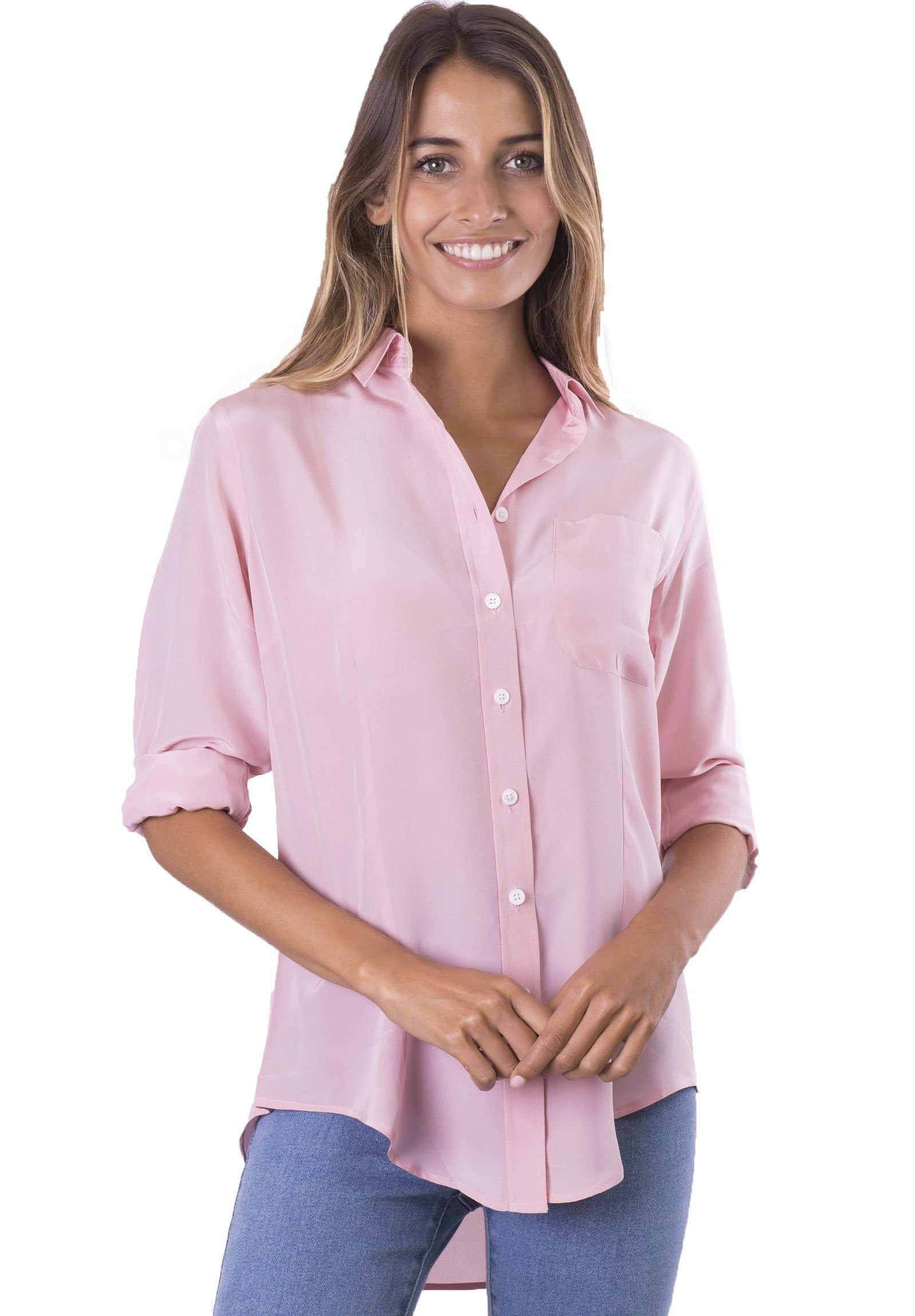 Seta Antique Pink, Pure Crepe de Chine Silk, Slim-Fit Shirt