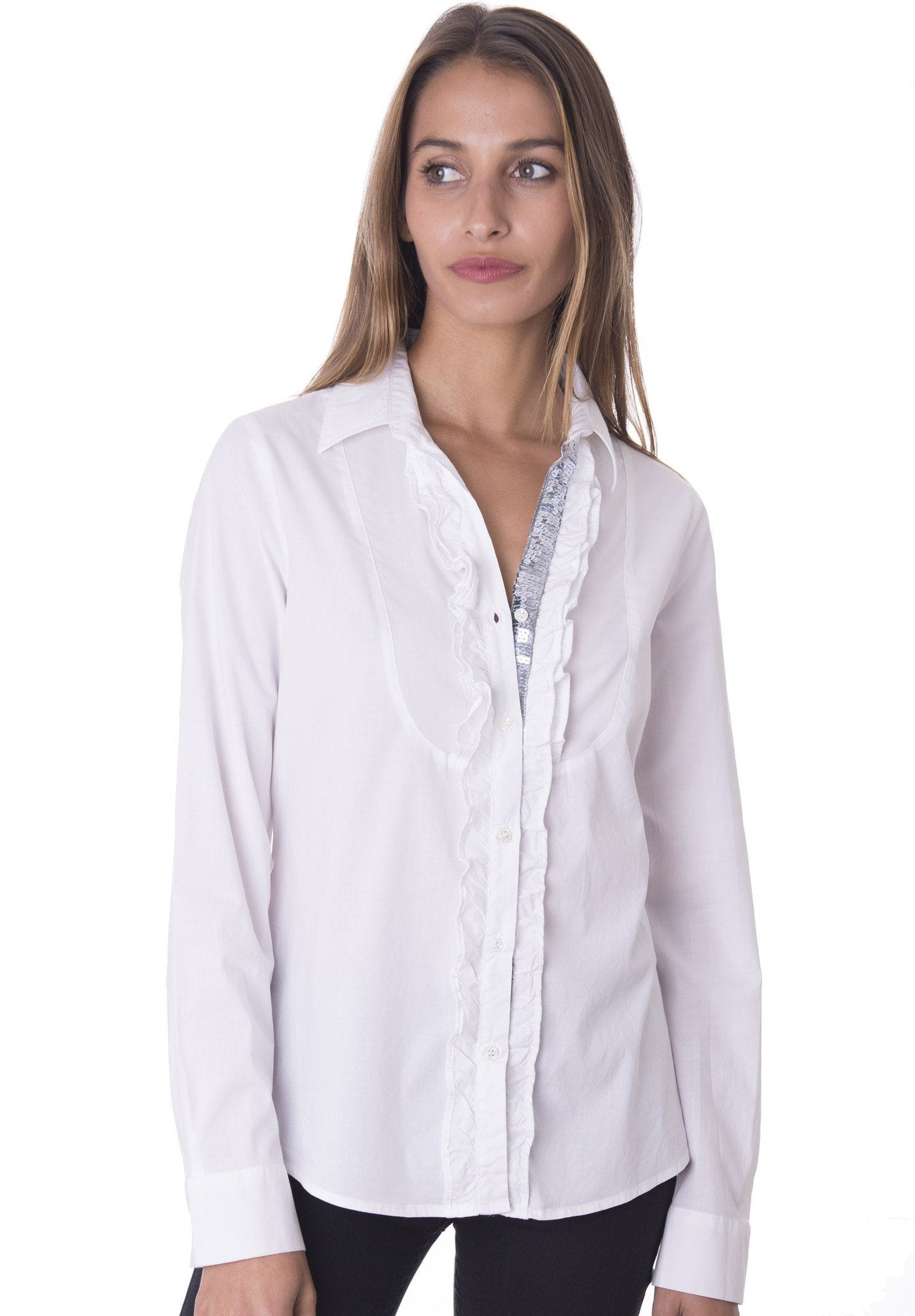 Grey Paillettes White Ruffled shirt