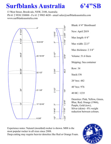 "6' 4"" Shortboard & Rocker Chart"