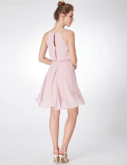 58f690c6ba ... Pink Rose Bridesmaid Pleated Knee Length Dress With Ruffles Detail ...