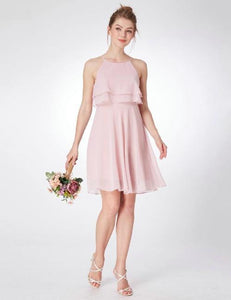 f85e711aa6 Pink Rose Bridesmaid Pleated Knee Length Dress With Ruffles Detail ...