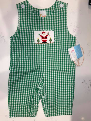 Green Check Santa Smocked Longall