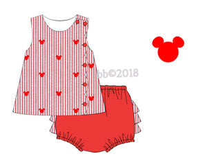 Mouse Embroidered GIRL Diaper Set