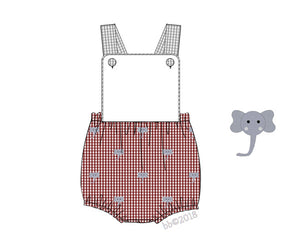 Sunsuit: Crimson and Grey Elephant