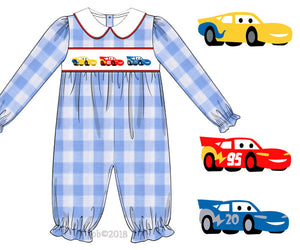 Special Order- Smocked Cars GIRL Romper