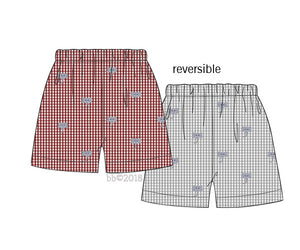 Reversible Crimson Embroidered Elephant Shorts