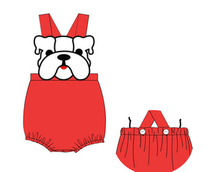 White Bulldog Red Sunsuit