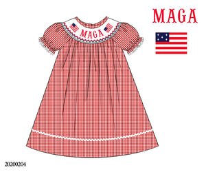 MAGA Smocked Bishop Style Dress