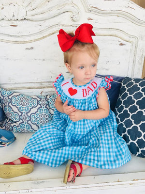 """I LOVE DAD"" Smocked Dress"