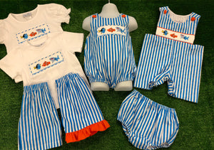 Nemo Inspired Aqua Stripe Smocked Bubble