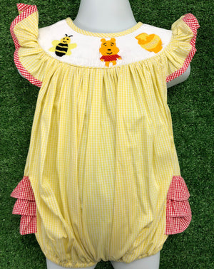 Pooh Inspired Girls Smocked Bubble