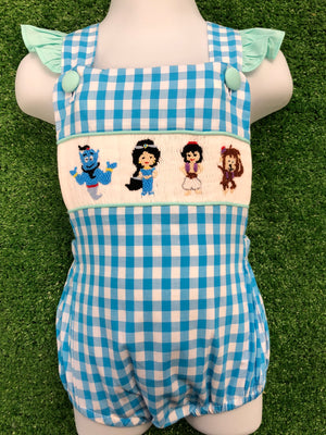 Aladdin Inspired Girl Smocked Sunsuit