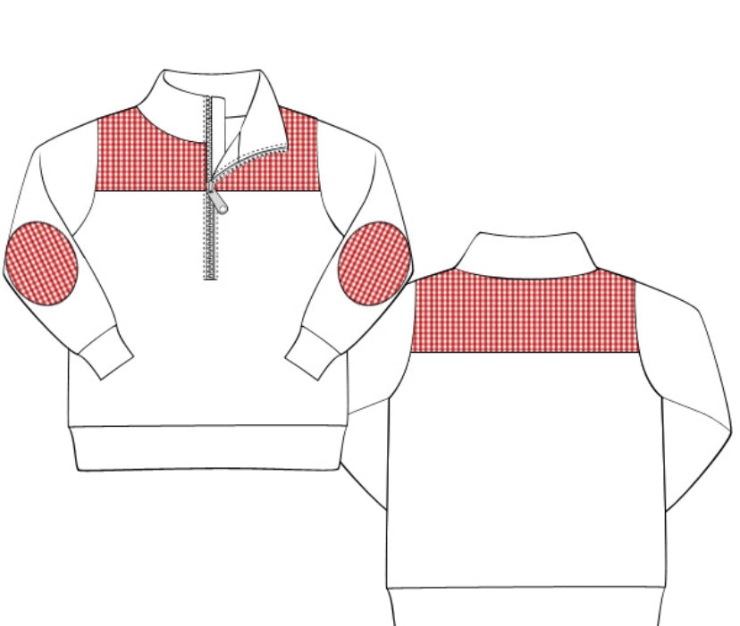 White Knit 3/4 Zipper Pullover With Red Gingham Accents