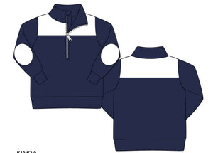 Navy Knit 3/4 Zipper Pullover With White Accents