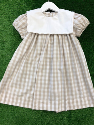 Classic Khaki Check Dress with Square Collar