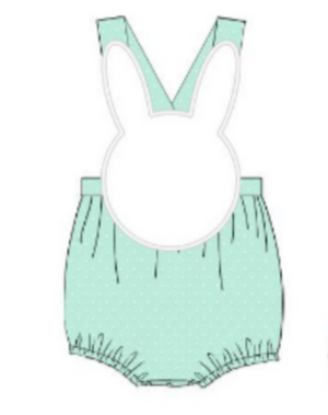 Boys Bunny Mint Swissdot Sunsuit