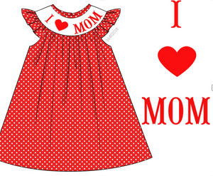 """I Love Mom"" Smocked Dress"