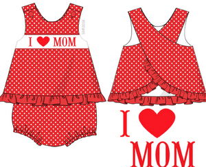 """I LOVE MOM"" Smocked Girl Diaper Set"