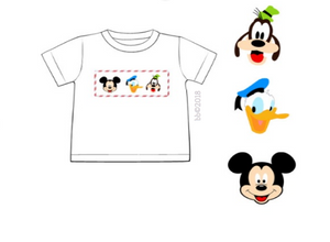 Smocked Mouse Characters Boy Short Sleeve Tee Only