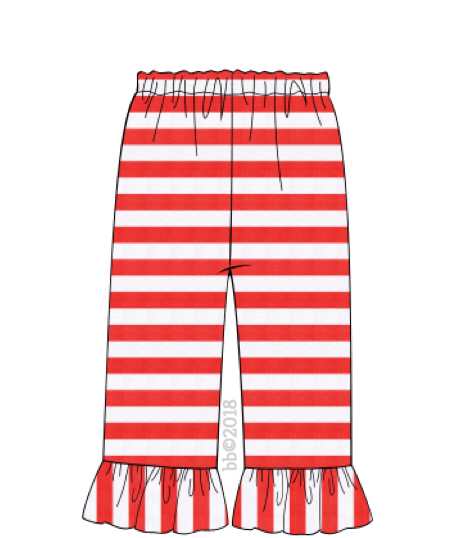 Red Stripe Knit GIRL Ruffle Pant
