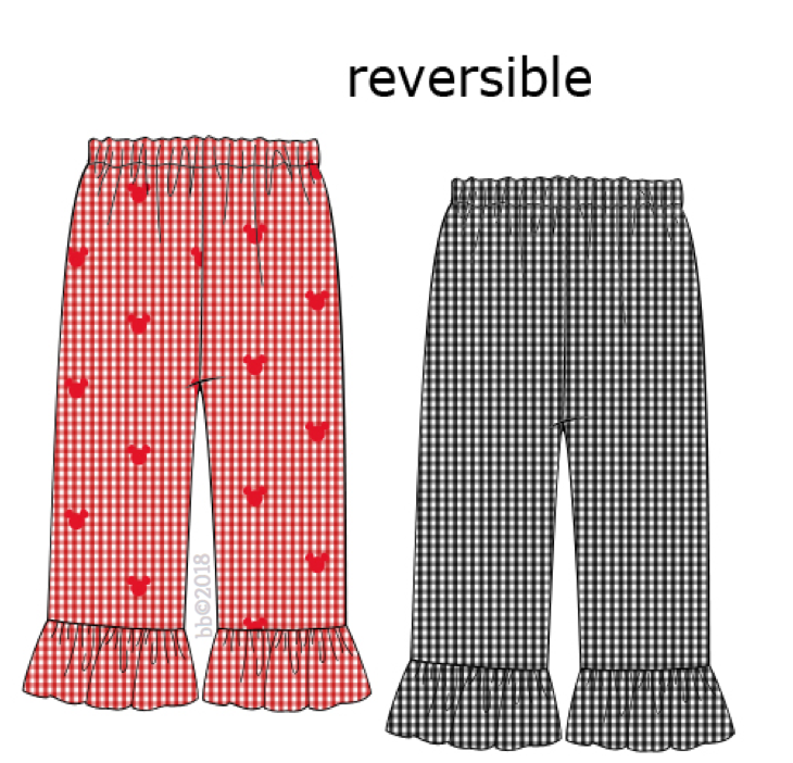 Mouse Embroidered Reversible Red Gingham GIRLS Pants