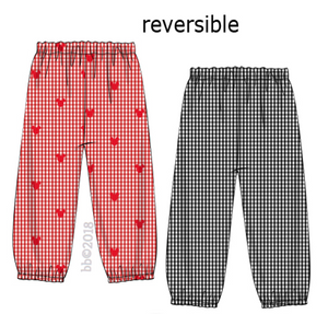 Mouse Embroidered Reversible Red Gingham BOYS Pants
