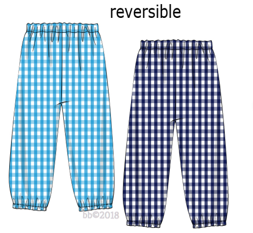 Classic Navy & Turquoise Check Reversible Pants