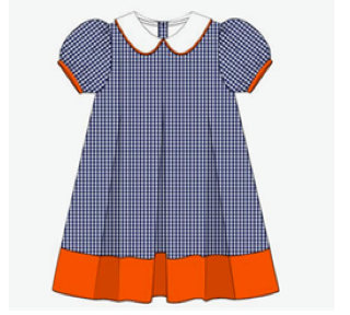 Dress: Navy and Orange Gingham Pleated Dress
