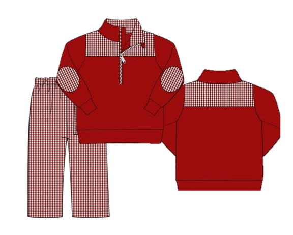 Special Order: Garnet Gingham 3/4 Zip Pullover and Pants