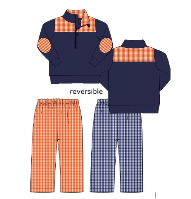 Special Order: Navy/Orange Gingham 3/4 Zip Jacket and Pants