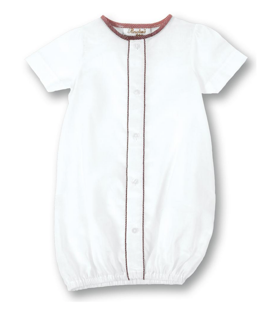 Classic White Baby GIRL Gown with Red Gingham Piping