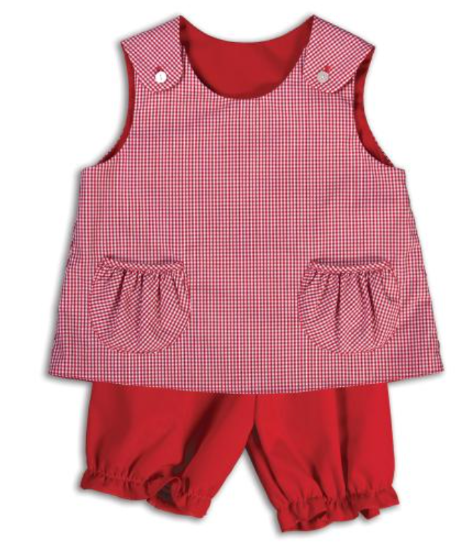 Classic Red Gingham Reversible Swing Top and Long Bloomer