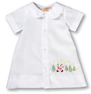 Infant Boy Gown Shadow Embroidery Dancing Santa