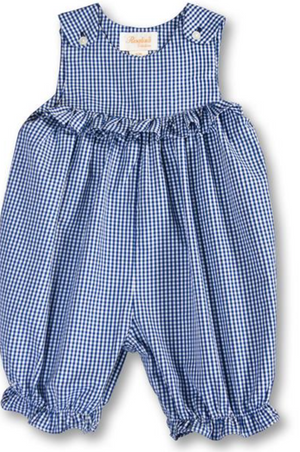 Navy Gingham Ruffle Front Romper