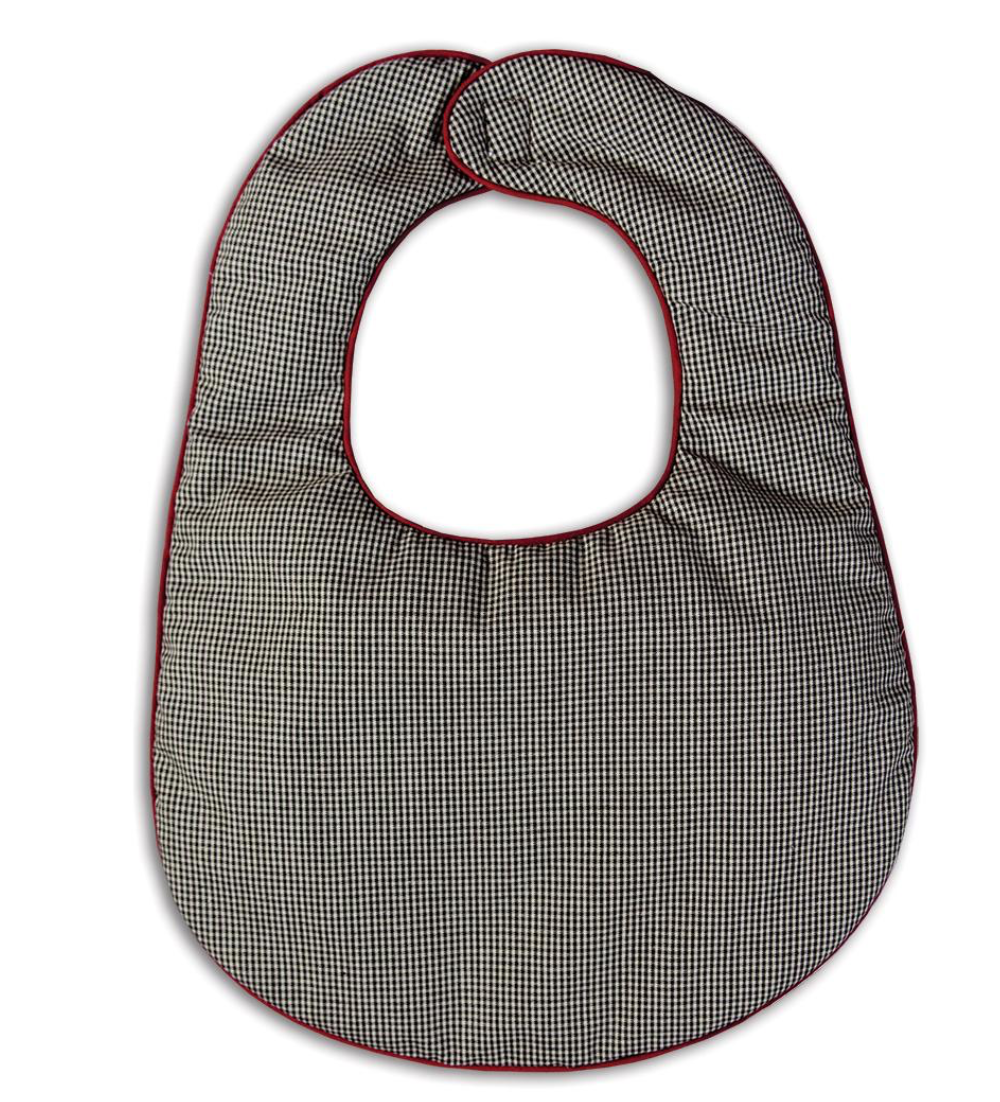 Black Gingham Bib with Maroon Trim