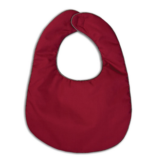 Maroon Bib with Black Gingham Trim
