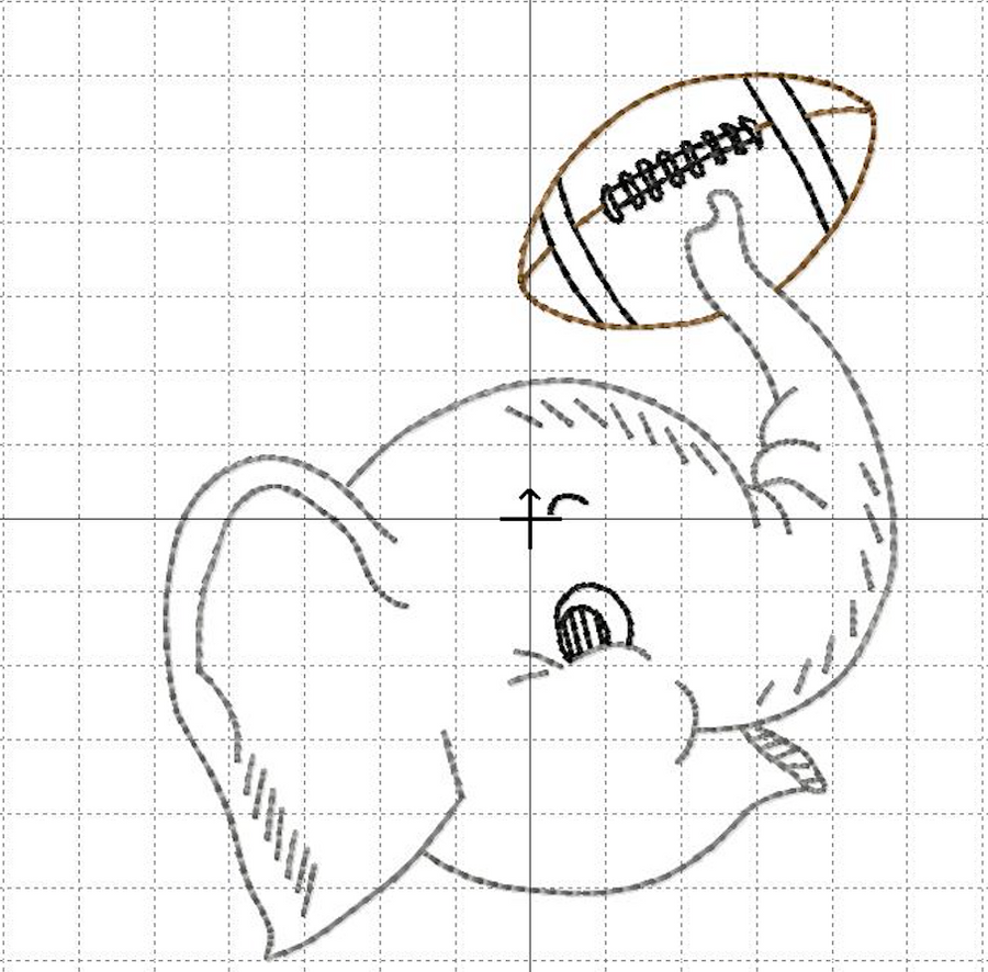 Embroidery Add On: Elephant Head with Football