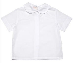 White Fabric Peter Pan Collar Boy Shirt