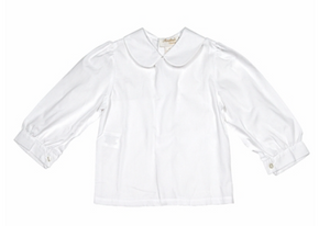 Blouse: Long Sleeve White Girls PP Collar