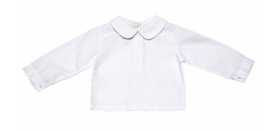 Long Sleeve White Boys Shirt PP Collar with red stripe trim