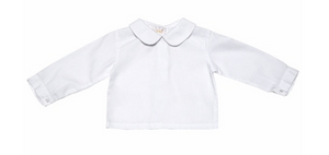 Long Sleeve White Boys Shirt PP Collar with red trim