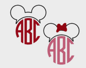 Embroidery Add On: Mickey or Minnie Ear Outline and Initials