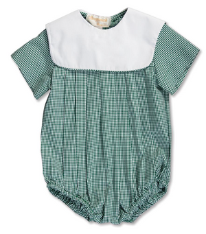 Dark Green Gingham Bubble With Collar