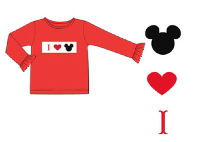 Long Sleeve Smocked Love Red Ruffle Tee